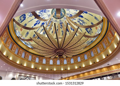 LOMBOK - INDONESIA / 06.24.2108: The ceiling of the Islamic Center Mosque in Lombok Island, Indonesia