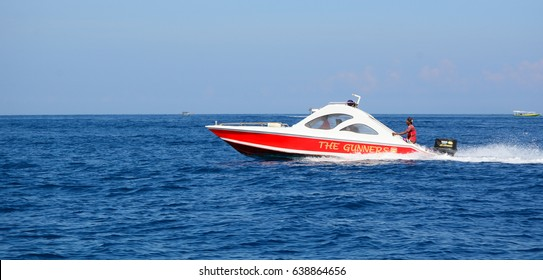 Lombok, Indonesia - Apr 19, 2016. A speedboat carrying tourists on the sea in Lombok, Indonesia. Lombok, an island next to Bali where the tourism is still in its infancy.