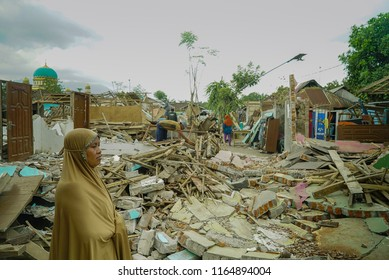 LOMBOK INDONESIA AUGUST 27 2018 : A STRONG earthquake with a magnitude of 7.0 has hit Indonesia's Lombok island. the villages collapsed after earthquake