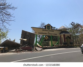 LOMBOK INDONESIA AUGUTS 8 2018 : Lombok Earthquake, the house, bulding collapsed due to the Lombok earthquake