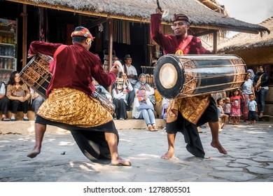 Lombok, Indonesia - July 20 2018: Gendang beleq of sasak performance at Dusun Sasak, Sade, Rembitan in Island Lombok.