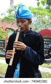 Lombok, September 24, 2017:  gendang beleq of sasak lombok street performance at art festival in Mataram.
