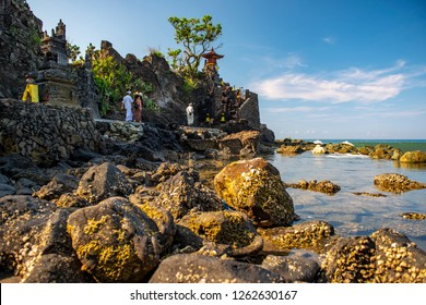 Lombok, West Nusa Tenggara / Indonesia - October 29, 2011 : Batu Bolong Temple in Senggigi Beach, Lombok.