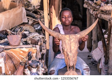 Lome, Togo - August 23, 2018: Head of the Dead Cow in the Akodessewa Voodoo Fetish Market