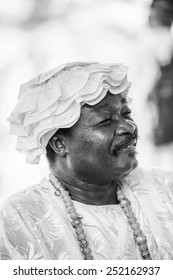 LOME, TOGO - MAR 9, 2013: Unidentified Togolese man in traditional clothes portrait . People of Togo suffer of poverty due to the unstable economic situation.