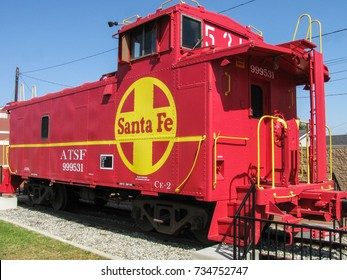 Lomita, California USA - October 12, 2017: This restored 1949 Atchison, Topeka and Santa Fe Railroad caboose is at the Lomita Railroad Museum in Los Angeles. 2137 W 250th St.