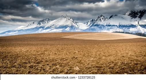 Lomnicky stit hill in Tatra mountains winter landscape