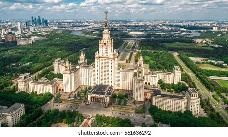 Lomonosov Moscow State University aerial view from drone