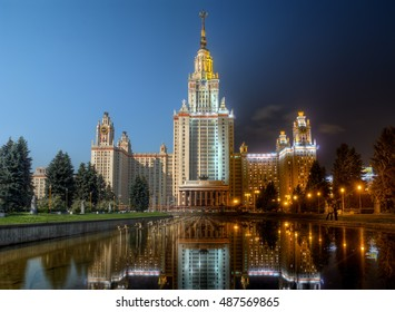 Lomonosov Moscow State university, also known as MSU. Day-to-night combination of two high dynamic range photos, taken from same point.