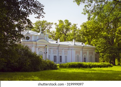 LOMONOSOV, RUSSIA - AUGUST 20, 2014: Chinese Palace in the Palace and Park ensemble of Oranienbaum in Lomonosov, Russia