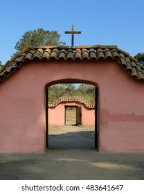 LOMPOC, CALIFORNIA - JULY 30: Double arch with cross at the La Purisima Mission on July 30, 2016 in Lompoc, California