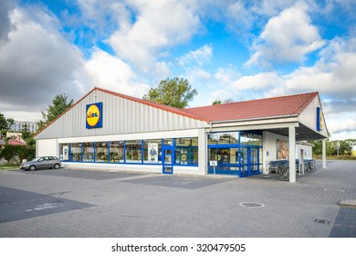 LOMZA, POLAND - SEPTEMBER 18, 2015: Lidl store in Lomza, Poland. Lidl is a german hard discount company. Lidl is present in 26 countries in Europe with around 9900 stores.