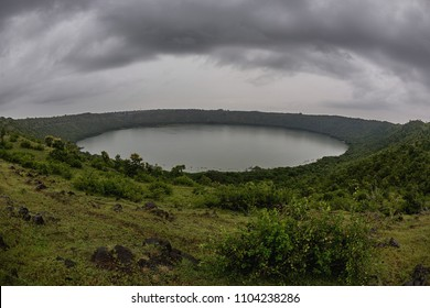 Lonar Lake National Geo-heritage Monument crater full rim view at 