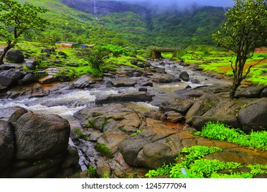 Lonavala, Maharashtra - August 10, 2018: Rajmachi Fort trek consists of a serene beauty of nature all the way till the highest point.
