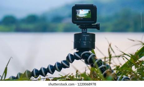 Lonavala, Maharashtra / India - Sept 29 2018: GoPro on timelapse mode at lake side