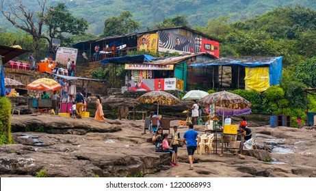 Lonavala, Maharashtra / India - Sept 29 2018: Bushi Dam food stalls