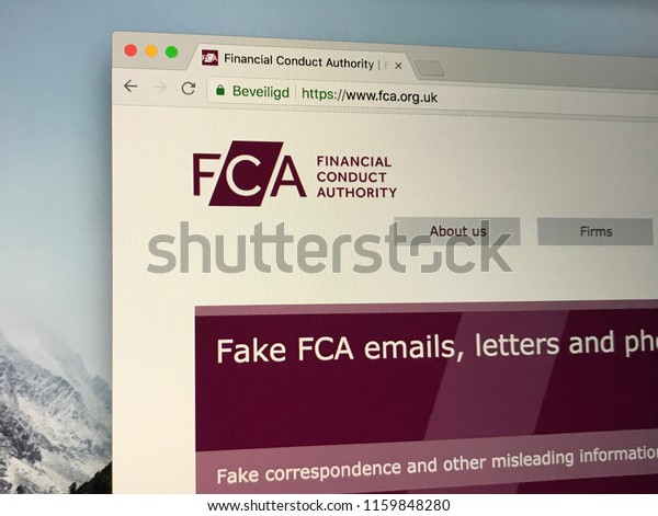 Londen, United Kingdom - August 20, 2018: Website of The Financial Conduct Authority or FCA, a financial regulatory body in the United Kingdom.