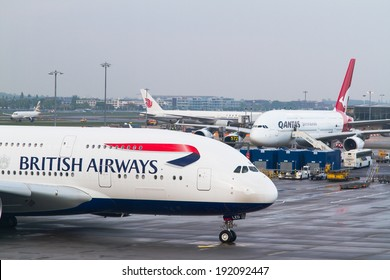 LONDO HEATHROW - APRIL 20: British Airways Airbus A380 taxis for take off on April 20, 2014 at London Heathrow Airport, London, UK