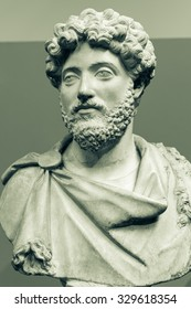 LONDON - 04 OCT 2015: Marble bust of the emperor Marcus Aurelius (AD 161-180) in a fringed cloak, about AD 160-170, from Cyrene, North Africa. Captured at British Museum London