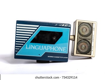 London, 10/10/2017:-Retro Linguaphone personal casstte player isolated on white background