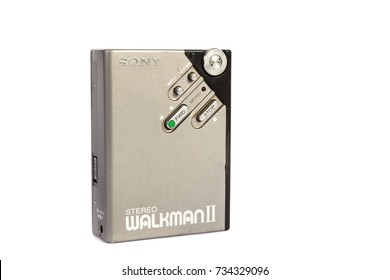 London, 10/10/2017:-Sony Walkman retro personal cassette player isolated on white background