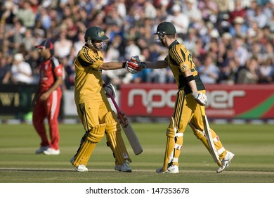 LONDON - 12 SEPT 2009; London England: Australia team player Callum Ferguson  congratulates his team mate Michael Clarke  during the Nat West, 4th one day international cricket match   at Lords Cricket ground