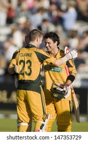 LONDON - 12 SEPT 2009; London England: Australia team players Michael Clarke (left) and Callum Ferguson celebrate winning the Nat West, 4th one day international cricket held at Lords Cricket ground
