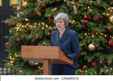 London 12th December 2018 Theresa May MP PC, Prime Minister confirms a leadership race as sufficient no confidence letters have been received
