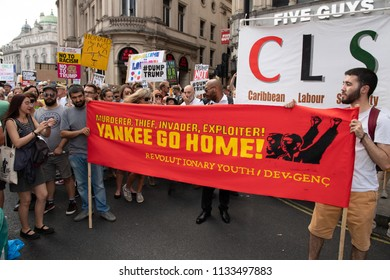 LONDON 13TH JULY, Trump rally. Today in London there were two rallies against Trump. There was also support for LGBT+ against Trump this rally was meet at Leicester Sq then carried on to Trafalgar     - Shutterstock ID 1133497883