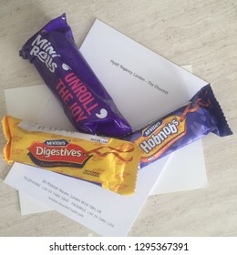 LONDON- 14 MARCH, 2016 - Mcvitie's chocolates on a note paper of Hyatt Regency Hotel of London. McVitie's brand is a manufacturer of biscuit products. Hyatt Regency Hotel is located at Portman Square.