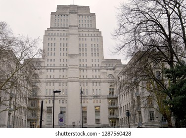 LONDON - 15 JANUARY 2019: The Senate House, administrative centre of the University of London, designed in art deco style by Charles Holden. George Orwell's model for Ministry of Truth.