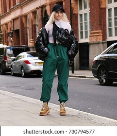 LONDON- 15 September 2017 Woman on the street during the London Fashion Week