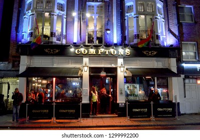 LONDON - 16 JANUARY 2019: The exterior of Comptons of Soho, built in Old Compton Street in 1890 as The Swiss Hotel, and renovated in 1986 to form Soho's most famous gay bar.