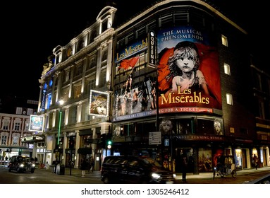 LONDON - 16 JANUARY 2019: The Queen's Theatre, Shaftesbury Avenue, in the city's theatre district advertising Les Miserables, London's longest running musical which opened in 1985.