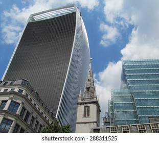 LONDON- 16 JUNE: 20 Fenchurch street is the newest skyscraper to tower over central  london. Its been nicknamed the walkie talkie building, because of its distinctive shape. LONDON, 16 JUNE, 2015.