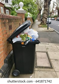 LONDON - 17 MAY, 2017: Bin collection day in a suburban street in Hampstead, North London, UK.