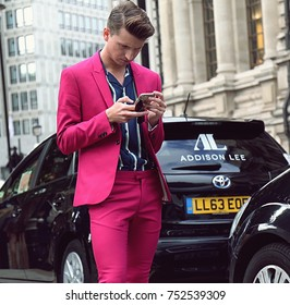 LONDON- 17 September 2017 Man on the street during the London Fashion Week