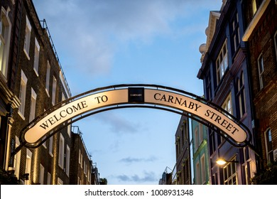 London, 18th January 2018:- Sign for Carnaby Street famous in the 1960s for its independent fashion shops