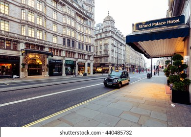 LONDON - 20 JUNE 2016 : The exterior of Strand HOTEL Located in London's West End, the Strand Palace Hotel is within 700 metres of the Adelphi and the Vaudeville theatres.