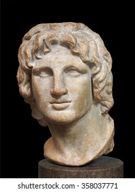 LONDON - 2013:  One of the historic treasures of the British Museum is this marble bust of Alexander the Great, made in Alexandria around 200 BC, as seen in London in 2013.