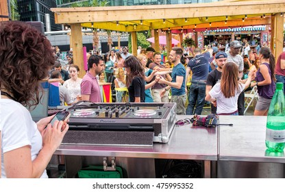 LONDON, 2016, AUGUST 28: People dancing to music at public outdoor street festival.