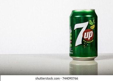 London, 24th October 2017:- A can of 7up against a white background