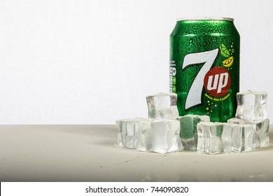 London, 24th October 2017:- A can of chilled 7up with ice against a white background