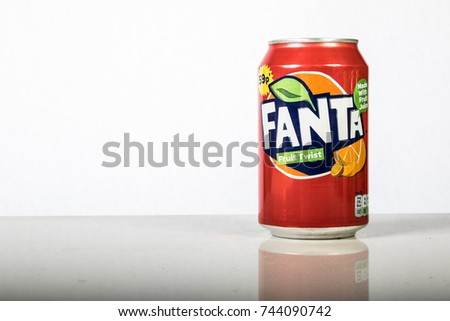 London, 24th October 2017:- A can of Fanta against a white background