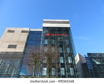 London, 27th February 2015 - An exterior shot of Santander Bank's UK head offices, located new Euston