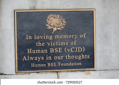 London, 28th September 2017:- Memorial plaque to the Victims of Hums BSE (vCJD) on the South Bank, near St Thomas' Hospital