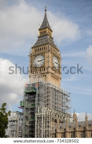 London, 28th September 2017:- The Palace of Westminster, home to the British Parliment with scaffolding due to renovation work on the UNESCO world heritiage site.