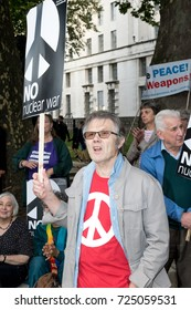 London, 28th September 2017:- Protesters gather in Whitehall, opposite Downing Street, to protest the growing tensions between North Korea and the USA