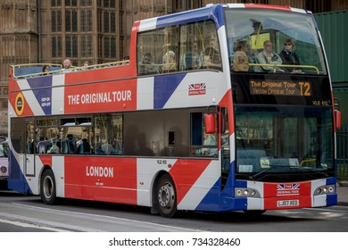 London, 28th September 2017:-A Union Flag decorated London tour bus near the Palace of Westminster