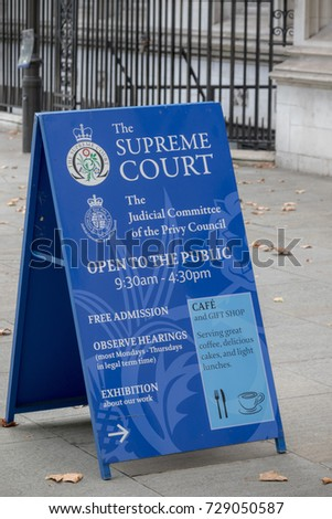 London, 28th September 2017:-Signs outside The Supreme Court of the United Kingdom and the Judicial Committe of the Privy Council. Located at Middlesex Guildhall